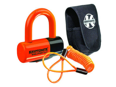 Kryptonite Evolution Series 4 disc lock - Premium Pack pouch and reminder cable - orange