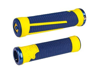ODI AG2 v2.1 MTB Lock On Grips 135mm - Blue / Yellow