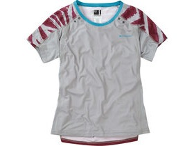 MADISON Flux Enduro women's short sleeve jersey, silver grey / classy burgandy
