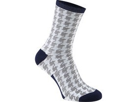 MADISON RoadRace Apex long sock, houndstooth white / ink blue
