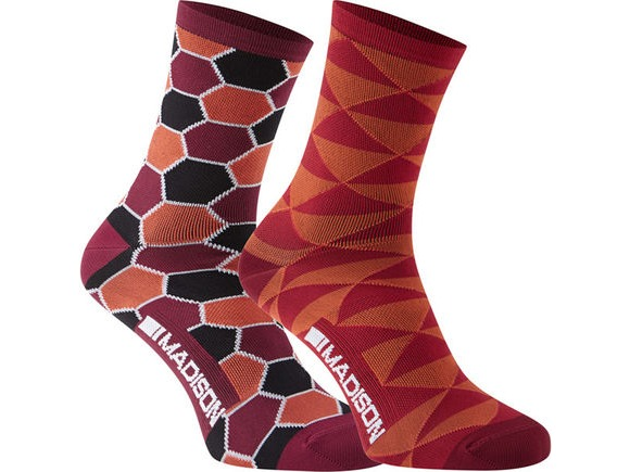 MADISON Sportive Race women's long sock twin pack, red combo click to zoom image