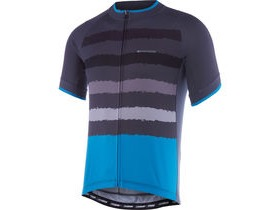 MADISON Peloton men's short sleeve jersey, black/chilli red torn stripes
