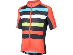 MADISON Sportive youth short sleeve jersey, torn stripes red/black