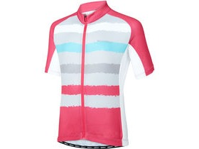 MADISON Sportive youth short sleeve jersey, torn stripes berry/silver grey