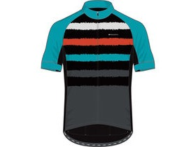 MADISON Sportive youth short sleeve jersey, torn stripes blue curaco/chilli red